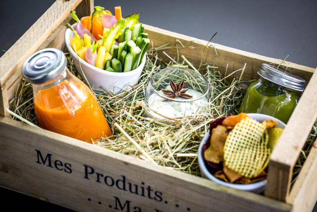 Gaspacho et jus vegetal legumes et chips_Hotel du Collectionneur