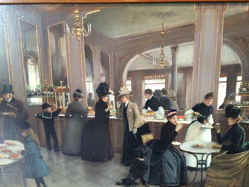 """""""La pâtisserie Gloppe"""" 1889, peintre Jean Beraud. Il s'agissait d'une pâtisserie qui se trouvait au n°6 de l'Avenue des Champs Elysées"""
