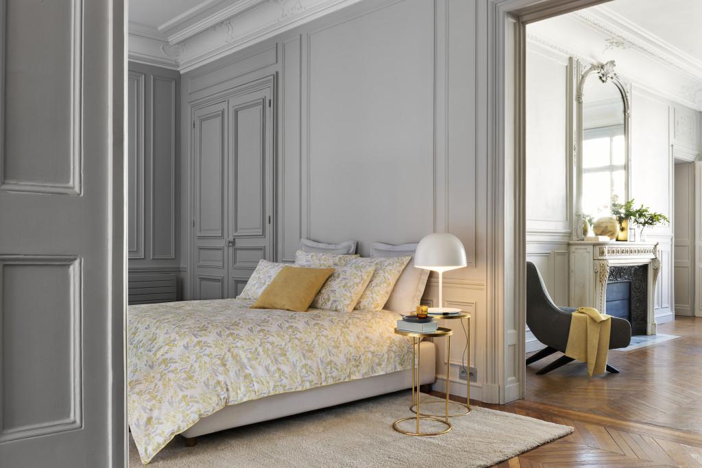 DESCAMPS - Lit Mimosa Descamps - parures de lit chics - décoration - savoir faire français