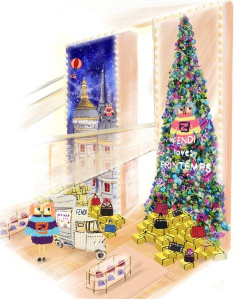 Fendi au Printemps - vitrines de Noël
