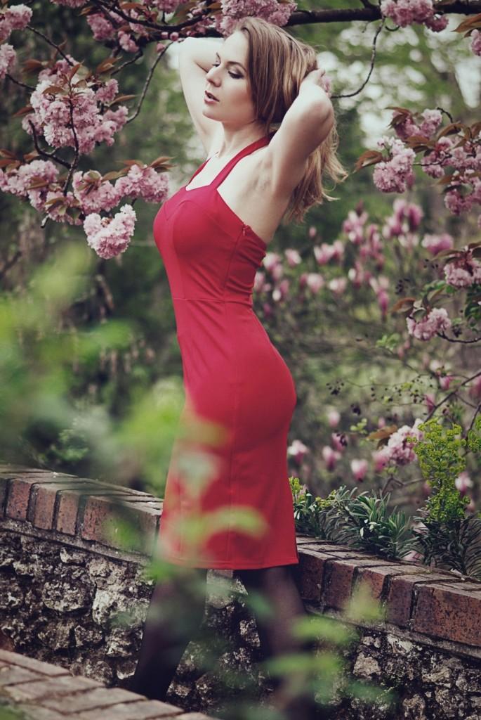 Bellepoque - robe rouge années 50 - vintage