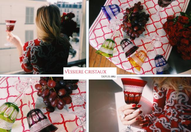 Vessière Cristaux – une table chic et colorée – verres à vin en cristal